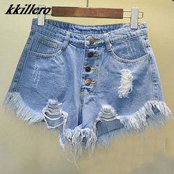 2019 европейский и американский BF летний ветер женский синий высокая талия джинсовые шорты для женщин носить свободные заусенцев рваные Джин...