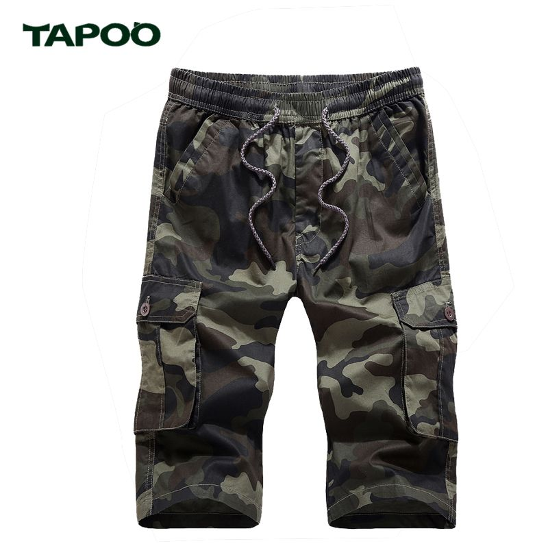TAPOO Mens Camouflage Casual Shorts Male Loose Work Shorts Man Military Short Pants