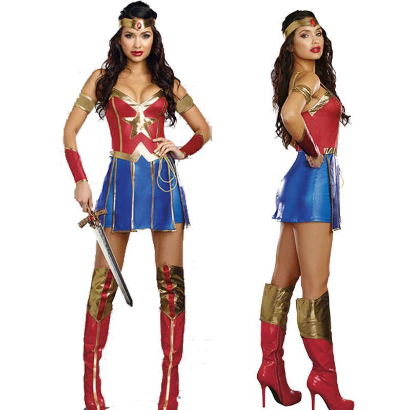 VASHEJIANG Sexy merveille femme Costume adulte incroyable Supergirl uniforme robe Halloween Sexy super-héros Cosplay carnaval robe