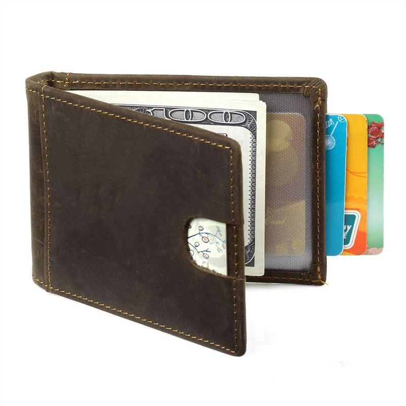 Пояса из натуральной кожи Для мужчин Зажимы для денег RFID Блокировка Винтаж карман зажим для денег держатель коровьей зажим для денег кошеле...