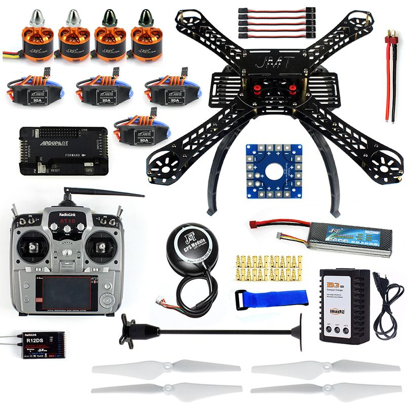 Full Set DIY RC Drone X4M380L 380mm Frame Kit with APM2.8 Flight Control GPS AT10 TX Transimitter for DIY Quadrocopter