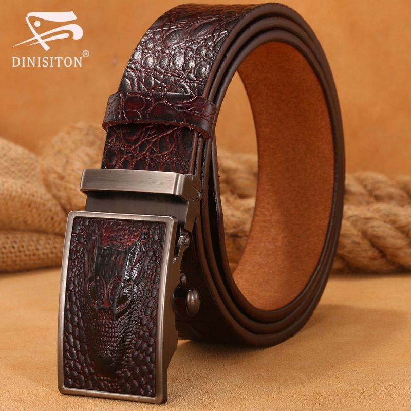 DINISITON Hot <font><b>Sale</b></font> Men belts Luxury Genuine Leather Crocodile designer High Quality Automatic Belt Man Buckle Real Cowhide Jeans