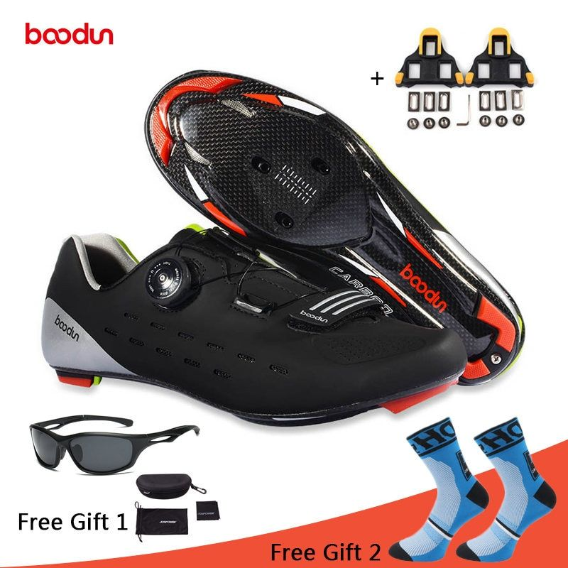 Boodun Cycling Shoes Carbon Fiber Breathable Road Bike Self-Locking Bicycle Shoes Zapatillas Ciclismo Athletic Racing Sneakers