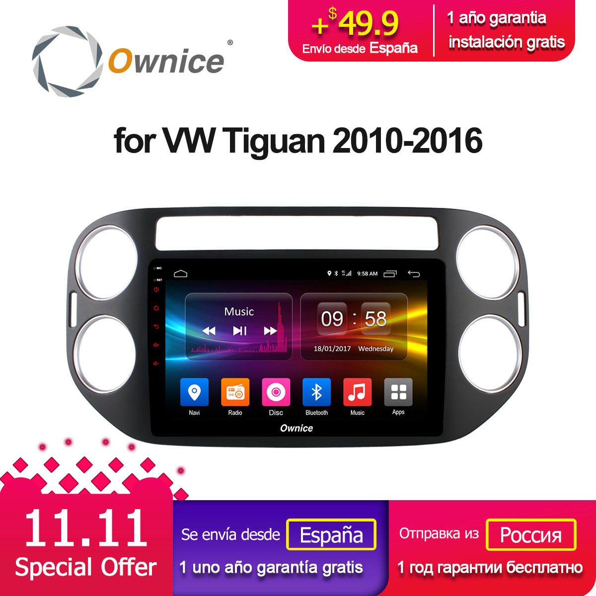 Ownice C500+ G10 Octa Core  Android 8.1 Car Radio GPS DVD CD player GPS For VW Tiguan 2010 2011 2012-2017 Audio  Stereo