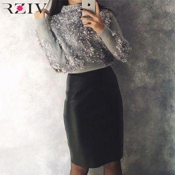 Rziv 20178 Осенне-зимняя обувь свитер для женщин и пуловеры для отдыха цветы вышитые патч вязаный свитер
