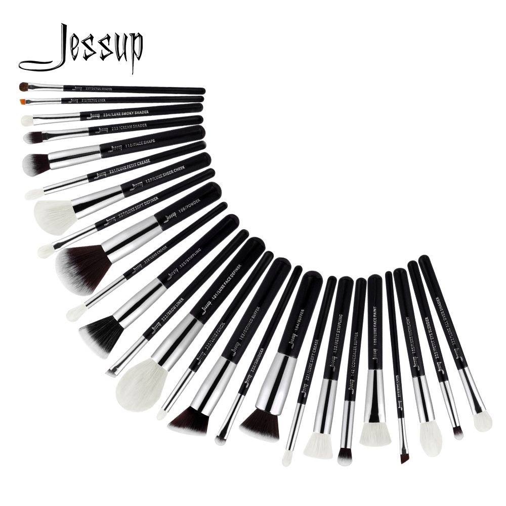 Jessup Brushes 25pcs Black/Silver Professional Makeup Brushes Set Make up Brush Tools kit Foundation Powder Blushes T175