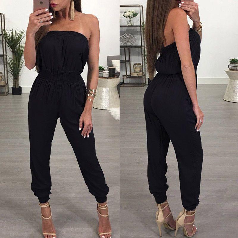2017 New Sexy Summer Women Ladies Clubwear Playsuit Bodycon Strapless Party Elegant Jumpsuit Romper Women Clothes Black