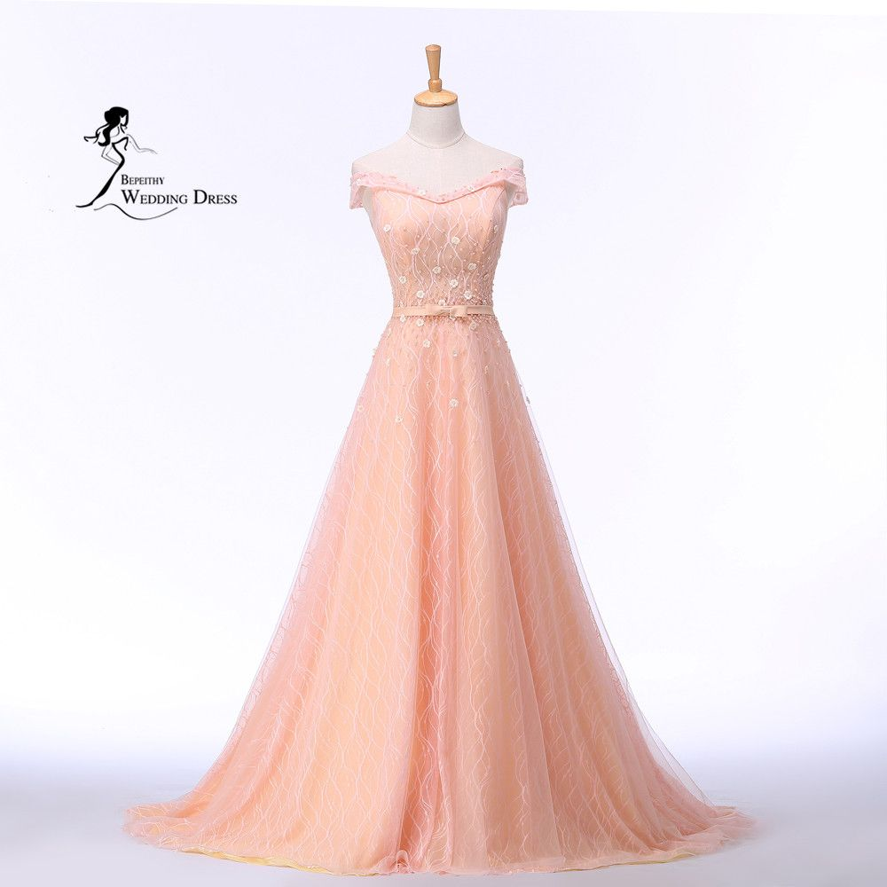 Vestido De Festa Longo off the shoulder pink  Long Evening Dress Party Elegant Robe De Soiree Vintag Dresses 2016 Abendkleider