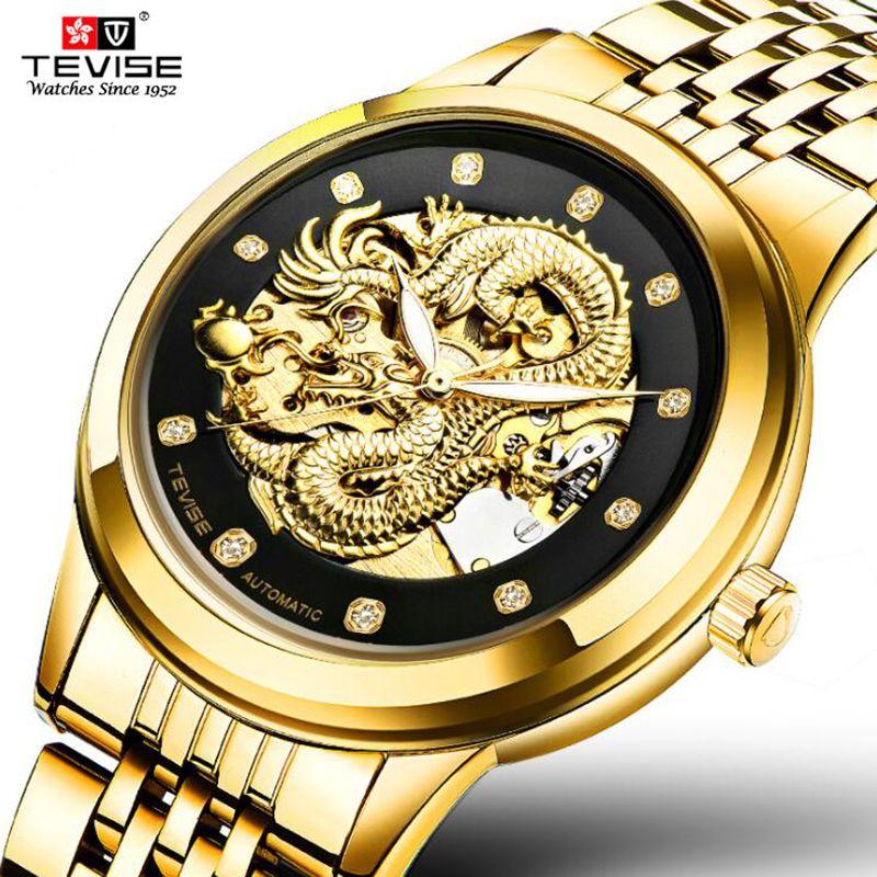 Tevise marca de lujo de oro dragón hombres reloj mecánico automático hebilla de mariposa 316 impermeable esqueleto reloj de los Amantes
