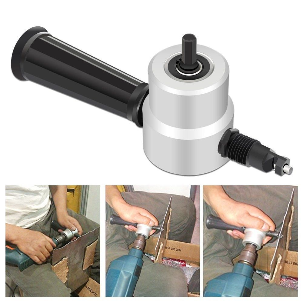 Nibble Metal Black Double Head Sheet Nibbler Metal Cutter Drill Sheet Metal Cutter Attachment Electric Saw With