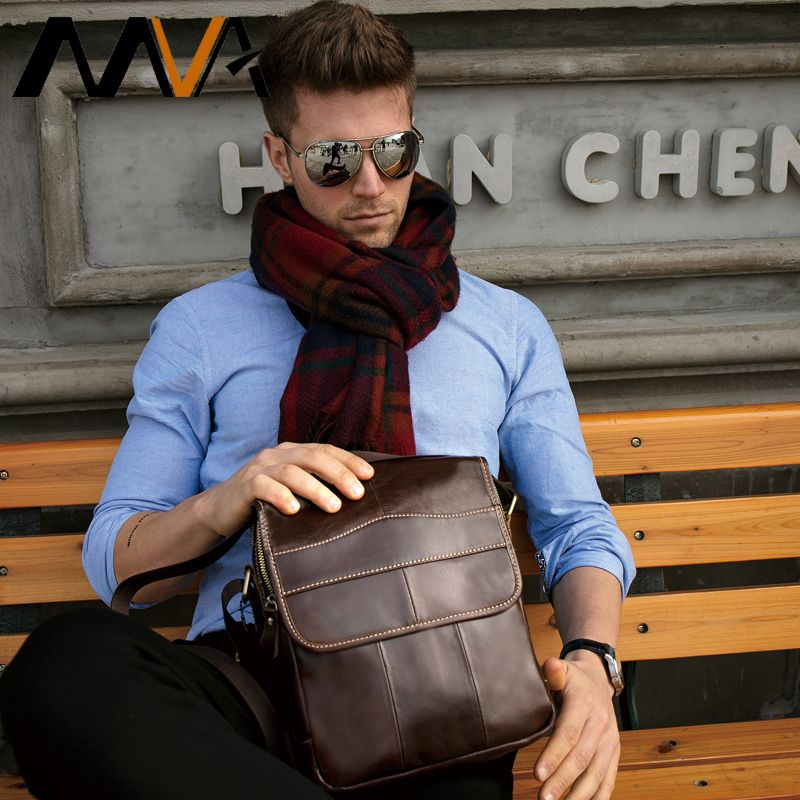 MVA Messenger Bag Men's Shoulder Bag Men's Genuine Leather Crossbody Bags for Men Leather Casual Small Flap for ipad/ book 1121