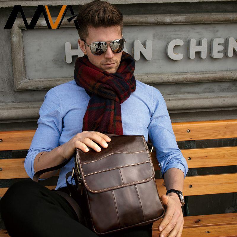MVA <font><b>Messenger</b></font> Bag Men's Shoulder Bag Men's Genuine Leather Crossbody Bags for Men Leather Casual Small Flap for ipad/ book 1121
