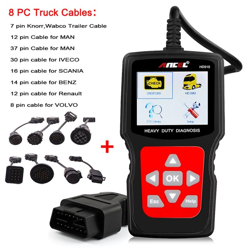Ancel HD510 OBD Auto-diagnosewerkzeug für Diesel Heavy Duty Diagnosescanner OBD2 Auto Lkw 2in1 Diagnose-Zu mit 8 STÜCK kabel