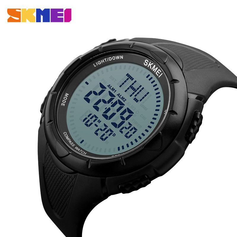 SKMEI montre de Sport en plein air hommes boussole réveil compte à rebours montres 5Bar étanche montre numérique Relogio Masculino 1232
