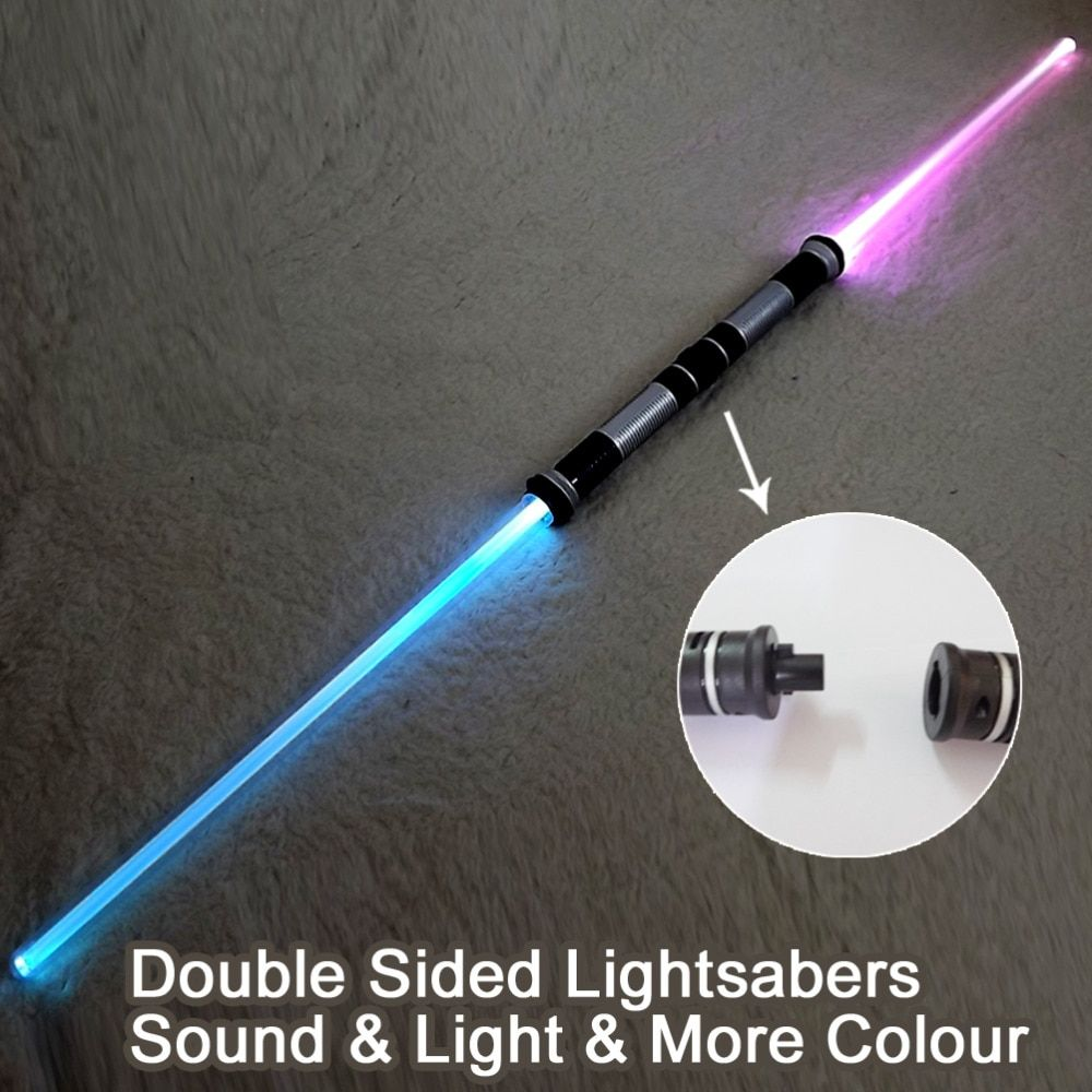 2 Pieces Sound Star Wars Lightsaber Cosplay Props Kids Double Light Saber Toy Sword for Boys Christmas Gifts