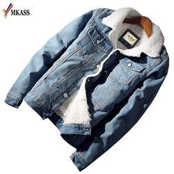 MKASS hombres chaqueta y abrigo moda cálida lana Denim chaqueta 2018 invierno moda Mens Outwear chaqueta de Jean vaquero masculino más tamaño 2XL