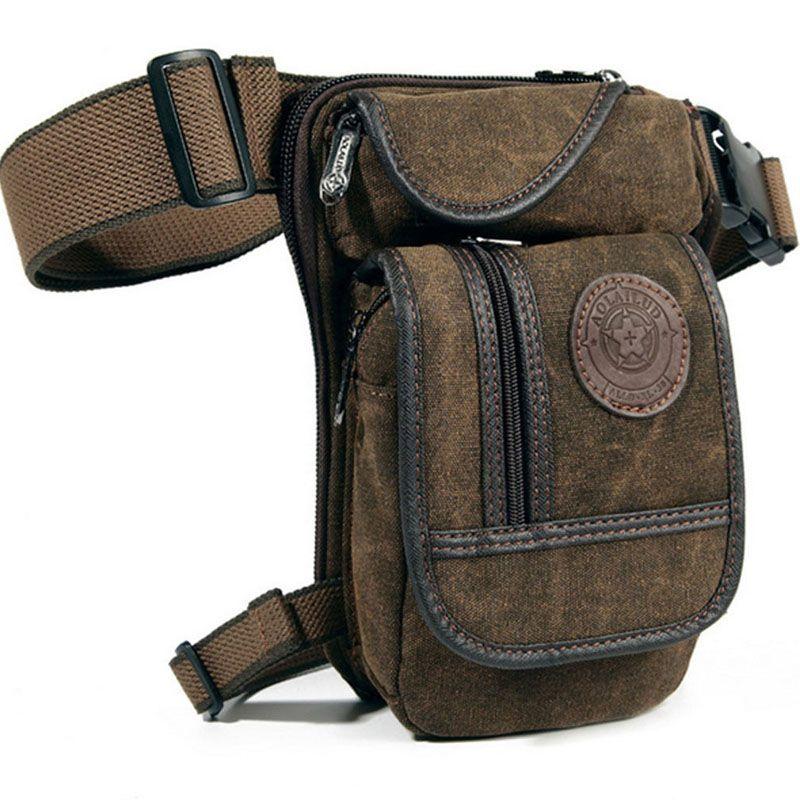 Men's Canvas Retro Drop Leg Bag Waist Fanny Pack Thigh Hip Bum Belt Military Hiking Motorcycle <font><b>Cross</b></font> Body Messenger Shoulder Bag