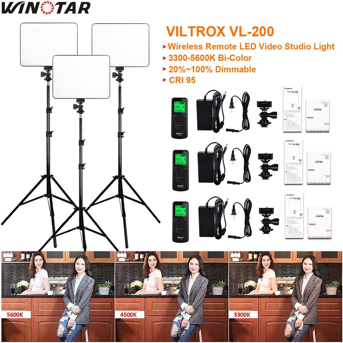 3pcs VILTROX VL-200 3300K-5600K CRI 95 Ultra Thin Dimmable Bi-color LED Video Light Kit + 3x Light Stand + 3x AC adapter
