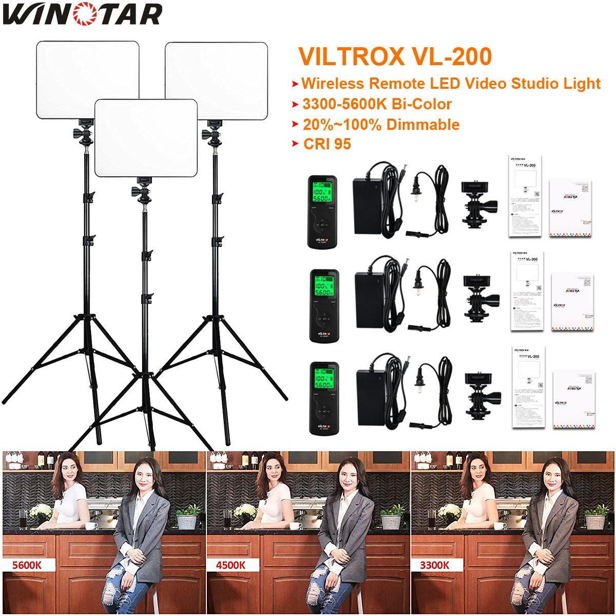 3pcs VILTROX VL-200 3300K-5600K CRI 95 Ultra Thin Dimmable Bi-color LED Video Light Kit + 3x Light Stand + 3x AC adapter