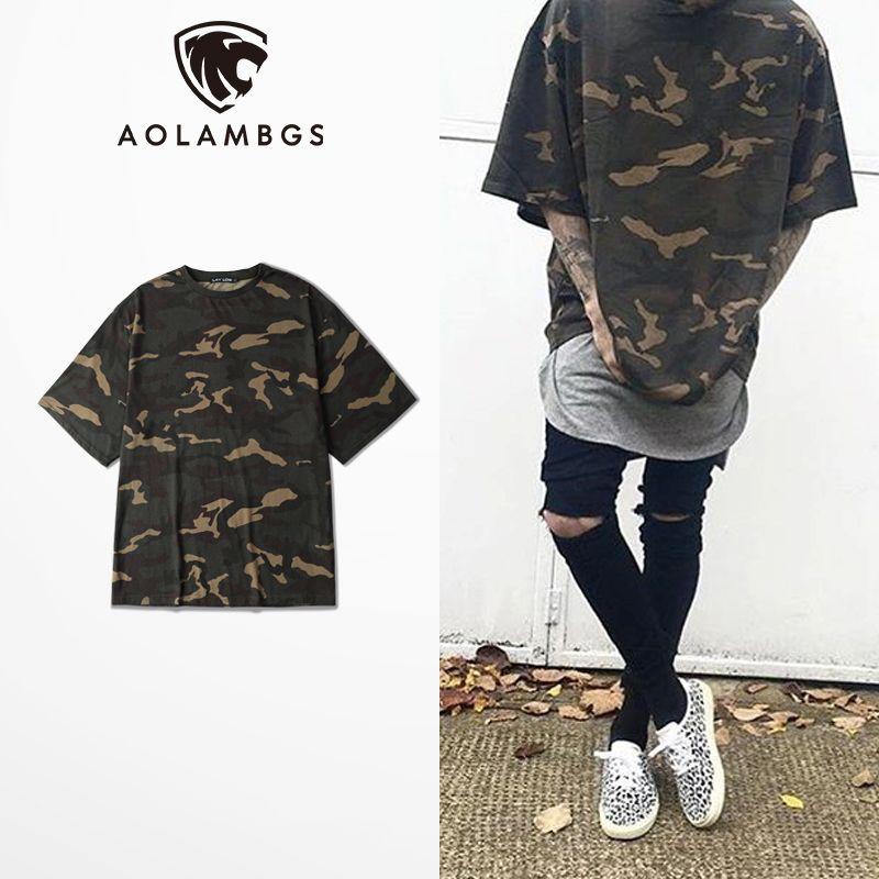 Camo Tee Hip Hop surdimensionné t shirt hommes 2016 décontracté hommes militaire Camouflage à manches courtes t shirt haut col en o Streetwear