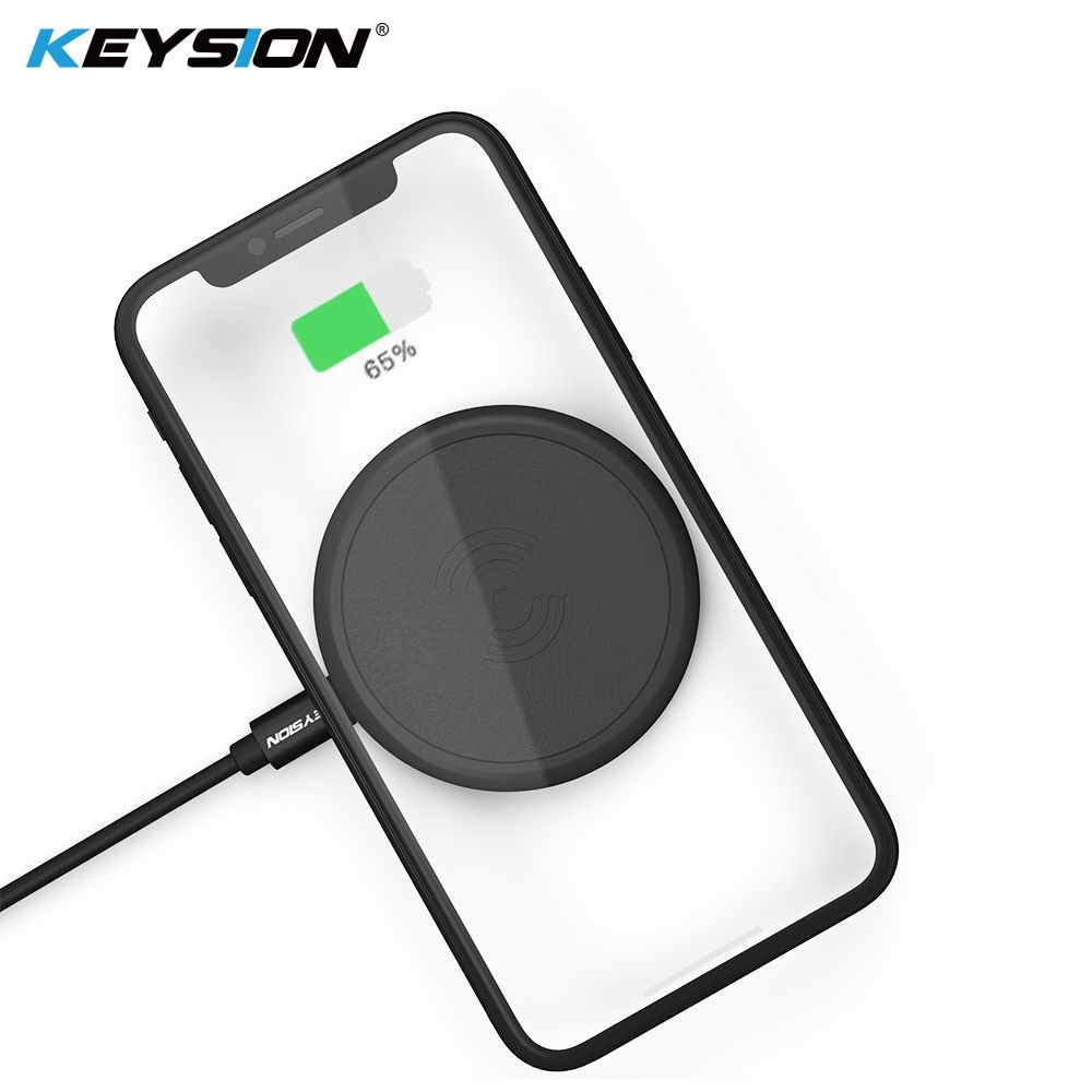 KEYSION Mini Qi Wireless Charger for iPhone XS Max XR 8 8 Plus PU Leather Wireless Charging Pad for Samsung Galaxy Note 8 S9+ S8