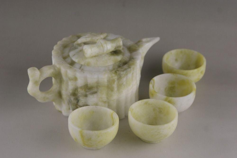 China100 % Natürliche jade handgeschnitzten Kung Fu Tee Statuen jade Glas Wein Können verwenden