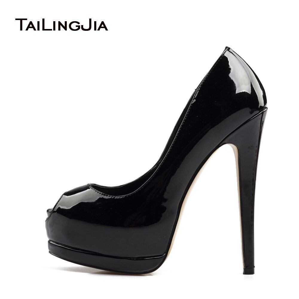 2017 Femmes Ruban Haute Talon Peep Toe Pompes Dames Noir Bleu Or En Cuir Verni Été Automne Chaussures Extrême Sexy Talons plus la Taille