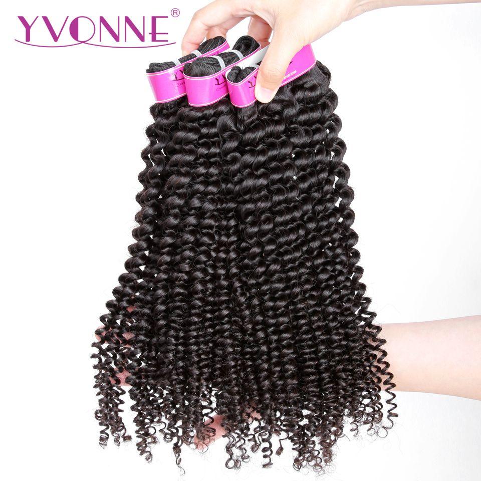 YVONNE Kinky Curly Virgin Brazilian Hair Weave Bundles 3Pcs Human Hair Bundles Natural Color Free Shipping