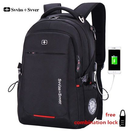 svvisssvver male Multifunction USB charging fashion business casual tourist anti-theft waterproof 15.6 inch Laptop men backpack