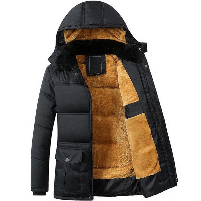 winter new men's jacket thickening plus velvet black hooded Down jacket men's coat Overcoat Cotton jacket