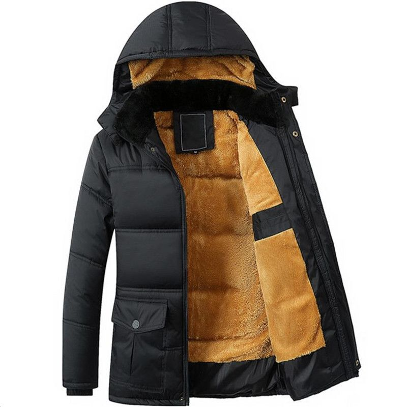 winter new men's jacket thickening plus velvet black hooded Down jacket men's coat Overcoat Cotton jacket