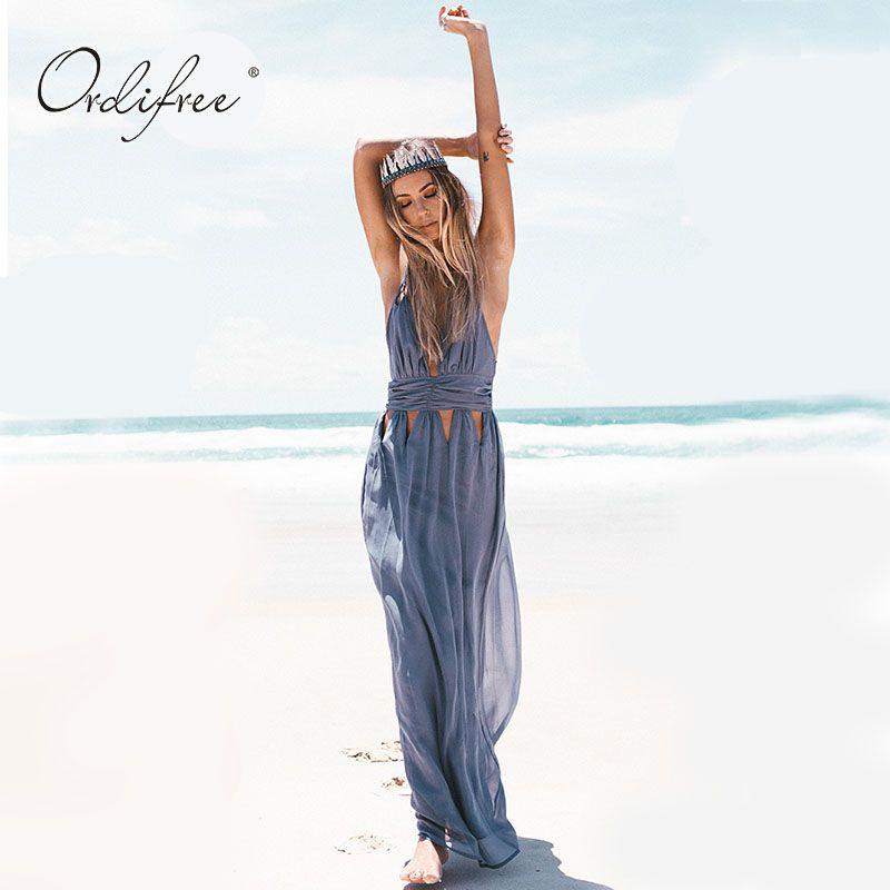 Ordifree Sundress 2018 Summer Boho Maxi Dress Women Long Chiffon Dress V Neck Off Shoulder Backless Sexy Tunic Beach Dress