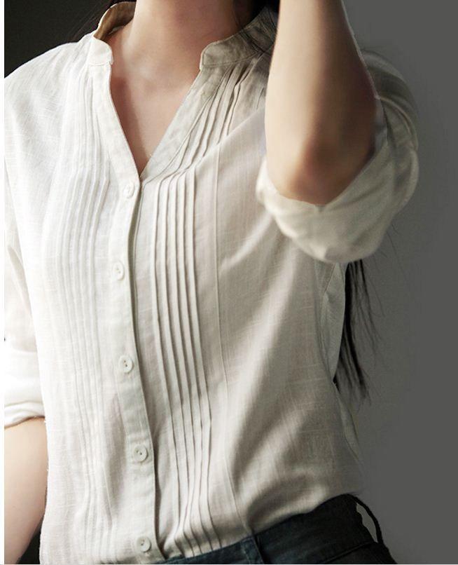 Femmes Blouses à manches Longues Femme Chemise En Coton Lin Col Femmes Porter blusas Chemisier Grandes Tailles Chemise 5xl 6xl