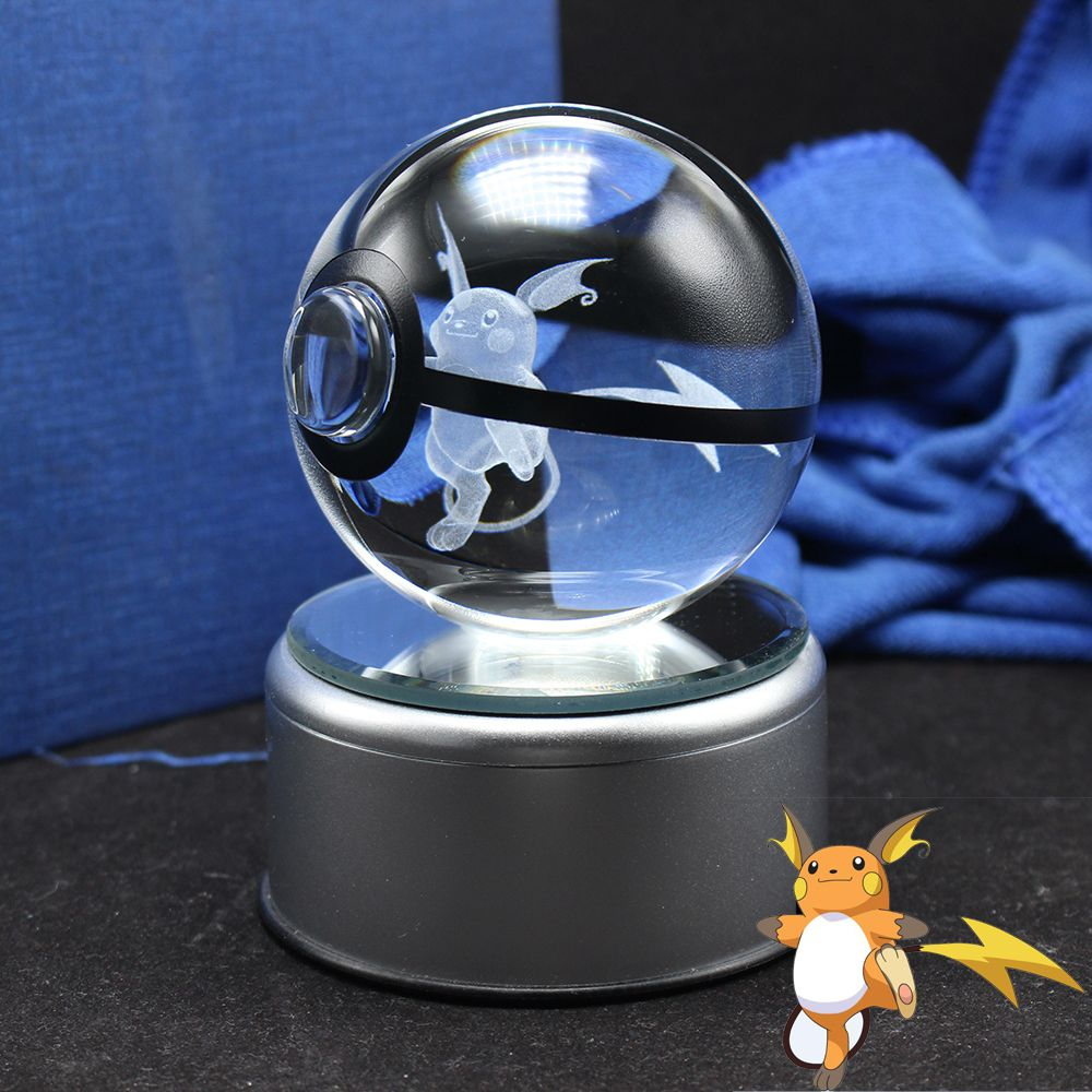 Cute 3D Raichu Design Pokemon Go Crystal Ball Sphere FengShui Glass Ball Home Decoration