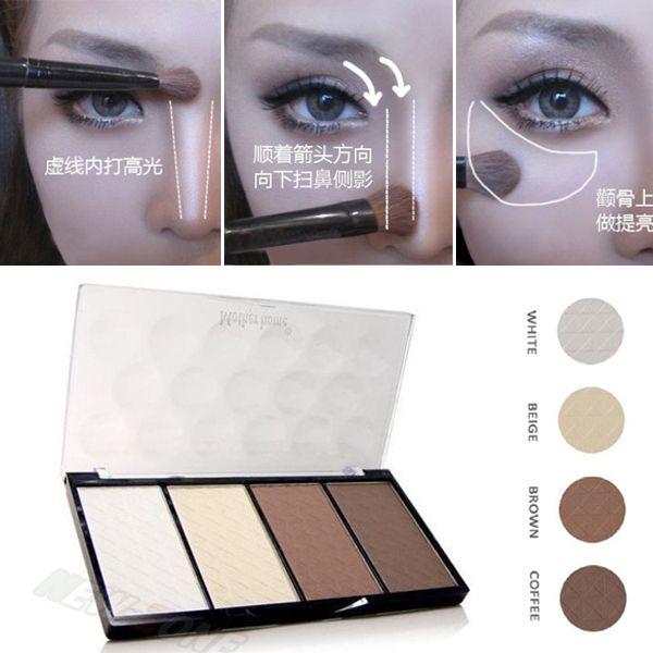 Nouveau Professionnel 4 Couleurs Concealer bronze Camouflage Maquillage Neutre Palette Primer Contour Du Visage Ombre Surligneur V Visage