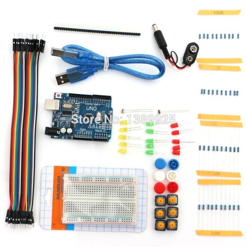 Nuevo botón de cable de puente LED Kit de Inicio UNO R3 mini Breadboard envío gratis