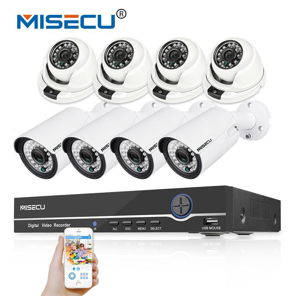 MISECU 1080P 8CH HD real POE NVR KIT 48V 2MP 1080P 8p Bullet/dome POE IP Camera In/outdoor night P2P Surveillance cctv camera