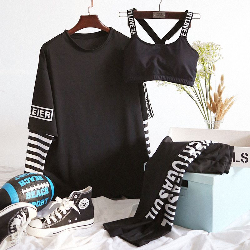 2018 Women Yoga Set Fitness Good Quality 3 Pcs Sports Bras Long Sleeve T-Shirts Pants Breathable Outdoor Sport Suit Gym Clothing
