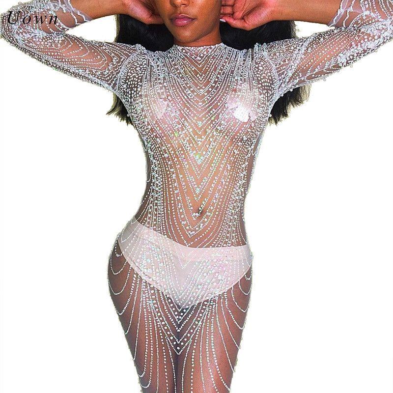 Maille transparente sexy à manches longues Sequin robe pour femmes O Cou Scintillant Voir À Travers Moulante tenue de club Soirée Paillettes Robes pour la Partie