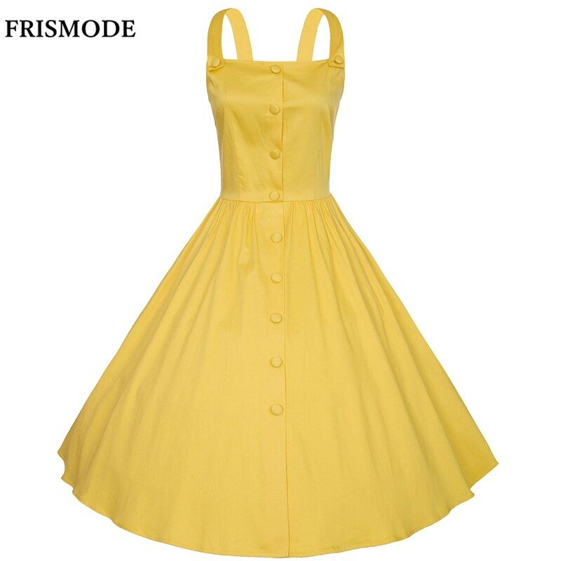 XS-4XL Plus Size Summer Dress 2017 New Cotton Spaghetti Strap Yellow Red Navy Blue White Women Dresess 1950s Vintage Dress