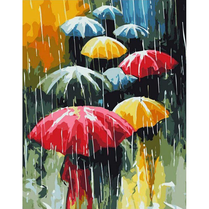 Parapluie sans cadre peinture à la main par numéros abstrait moderne mur Art toile peinture Unique cadeau pour la décoration de la maison 40x50 cm