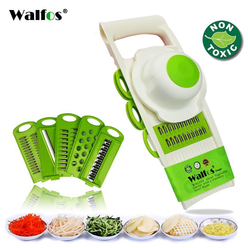 WALFOS Mandoline Éplucheur Râpe Légumes outils de coupe avec 5 Lame Carotte Râpe Oignon Légumes Trancheuse accessoires de cuisine