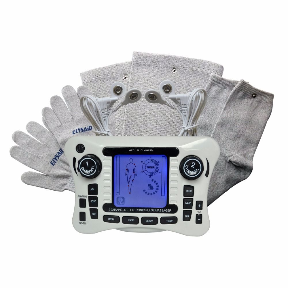 New TENS Set Full Body Massage Muscle Relax Healthcare Acupuncture Therapy Machine With Slipper Gloves Sockes Kneepads For Free