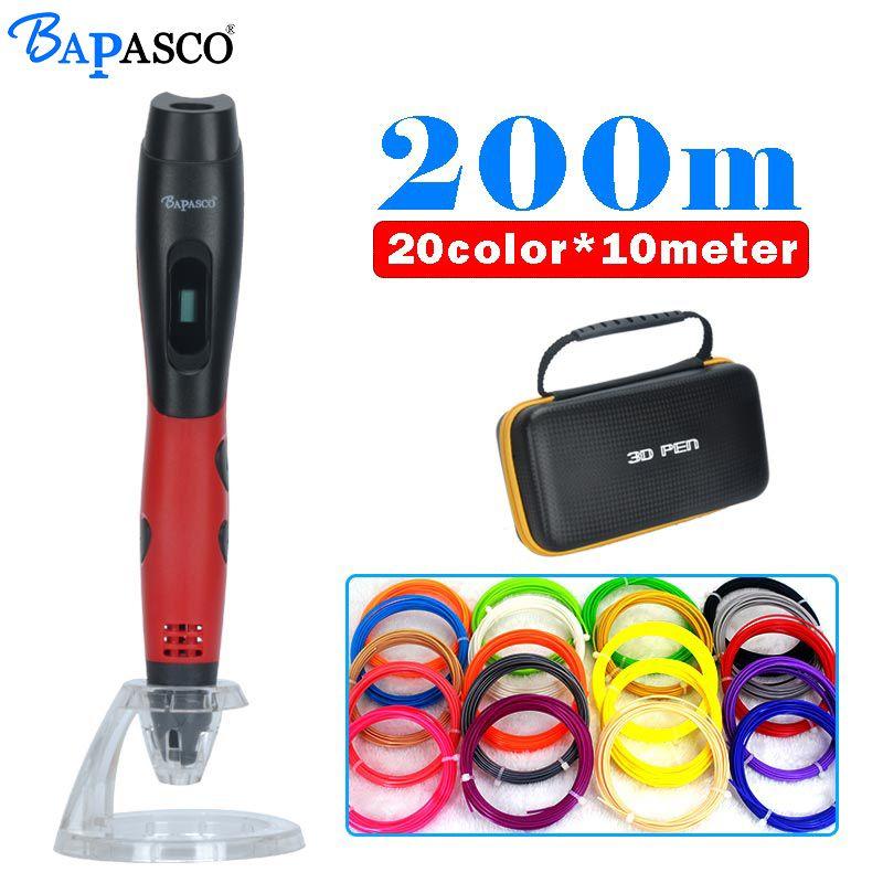 original <font><b>bapasco</b></font> 3D pen+200meter 20colors ABS filament 3D printer pens with 5V 2A adapter OLED display 3D doodle artist drawing