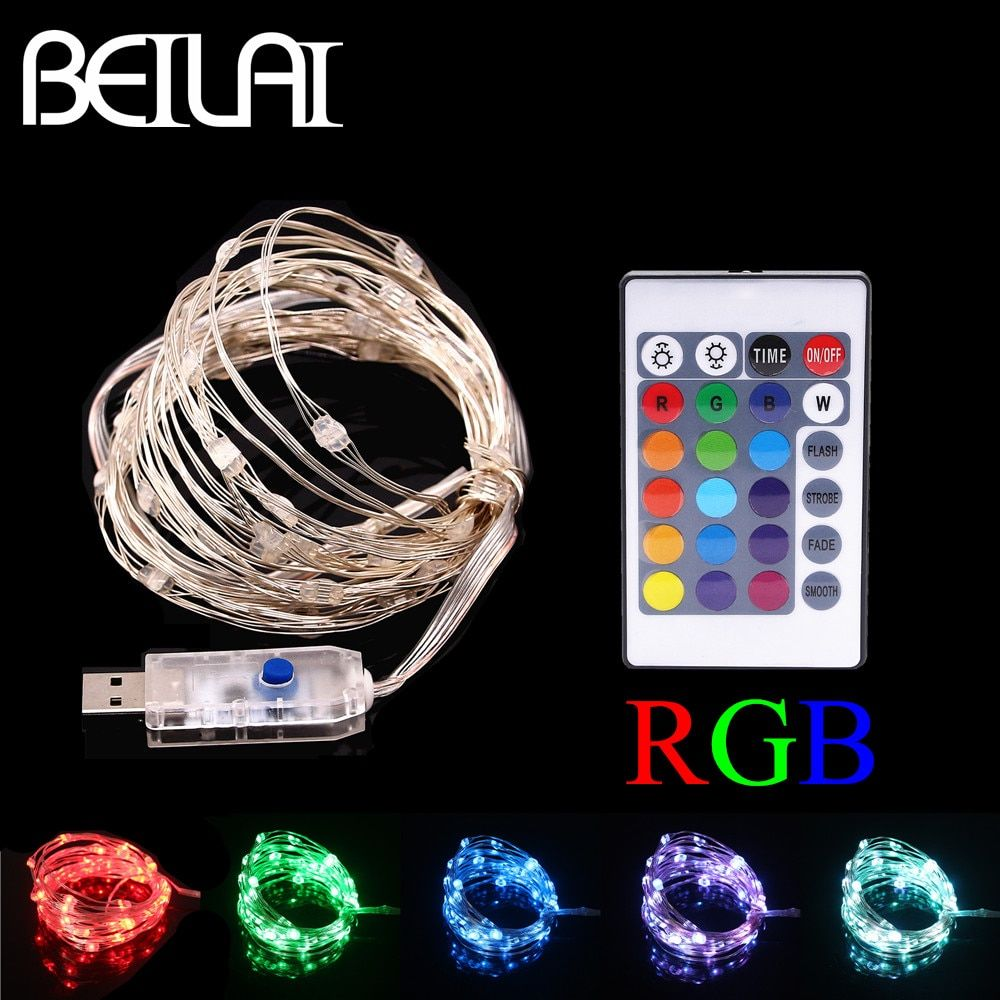 BEILAI RGB LED String Lights Waterproof 5M 50LED 5V USB Fairy LED Christmas Light Sliver Wire Party wedding Holiday with Remote