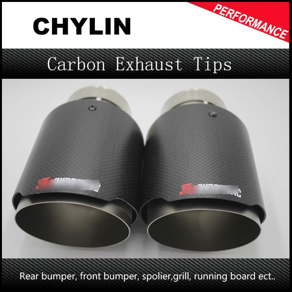 Free Shipping: 2PCS 63mm Inlet 101mm Outlet Stainless Steel Akrapovic <font><b>Carbon</b></font> Fiber Exhaust Tip for VW AUDI BENZ BMW PORSCHE