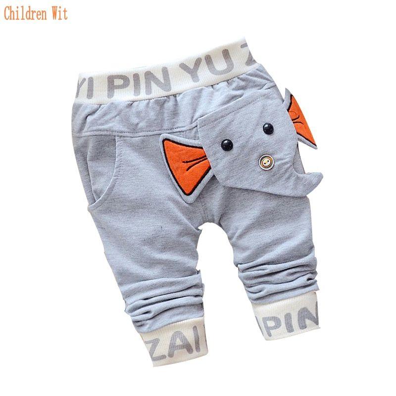 Новинка 2016 Весна и осень штанишки для малышей Хлопок слон стиль детские штаны для девочек и мальчиков 1 шт. От 0 до 2 лет детские штаны повседн...