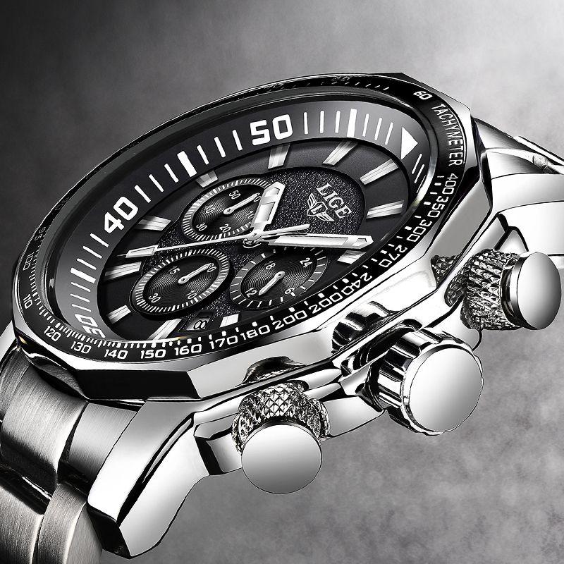 Mens Watch Big Dial Military LIGE Chronograph Top Brand Luxury Fashion Men Waterproof Sport Quartz Wristwatch Relogio Masculin