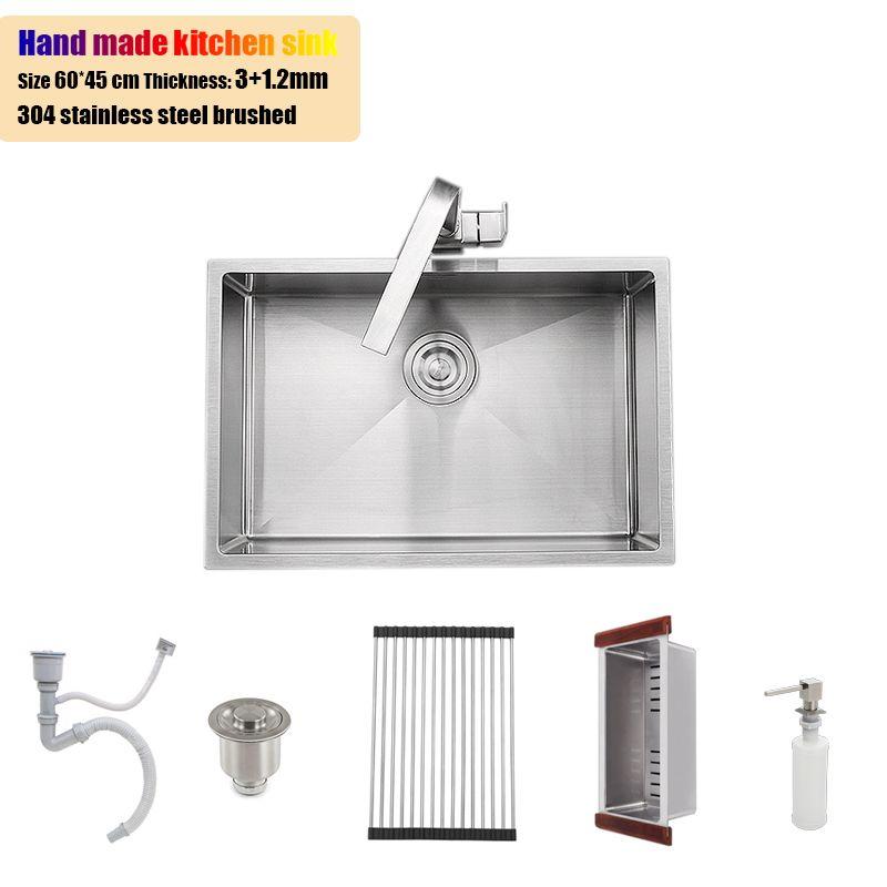 60*45 cm edelstahl küche spüle unterbau einzigen schüssel 23,6 verdickung wasser tank gebürstet mit ablauf korb ablauf rack