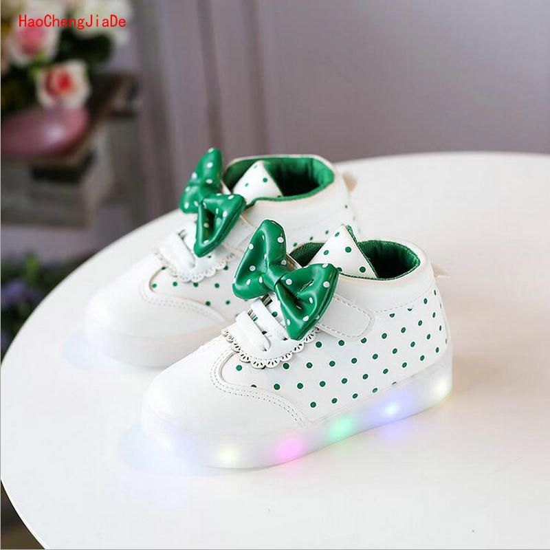 2018 spring new children's shoes LED light emitting bowtie shoes girls sports shoes baby comfortable shoes 1-7 years old